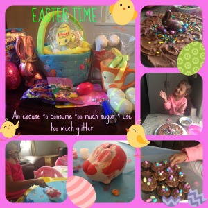 Rainy Easter Weekend: Decorating cupcakes/cake and painting a bunny piggybank